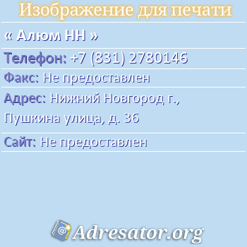 Алюм НН по адресу: Нижний Новгород г., Пушкина улица, д. 36