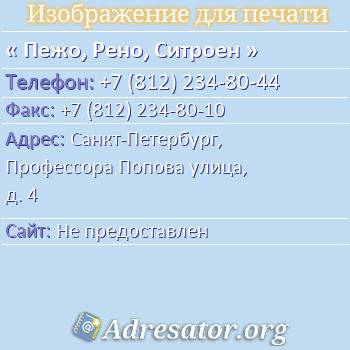 Пежо, Рено, Ситроен по адресу: Санкт-Петербург, Профессора Попова улица, д. 4