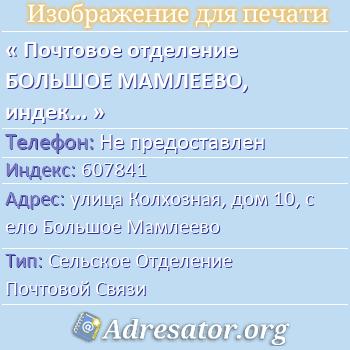 Почтовое отделение БОЛЬШОЕ МАМЛЕЕВО, индекс 607841 по адресу: улицаКолхозная,дом10,село Большое Мамлеево