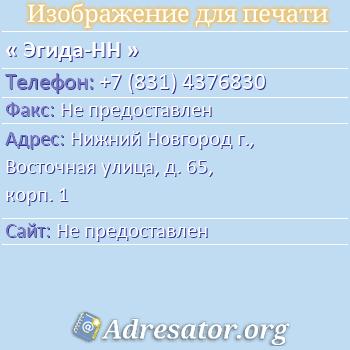 Эгида-НН по адресу: Нижний Новгород г., Восточная улица, д. 65, корп. 1