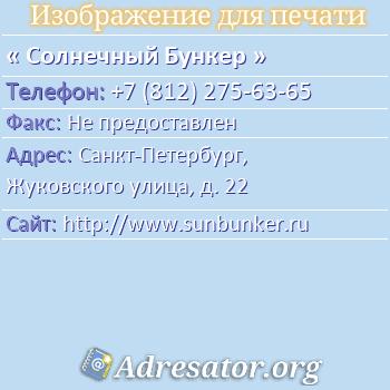 Солнечный Бункер по адресу: Санкт-Петербург, Жуковского улица, д. 22