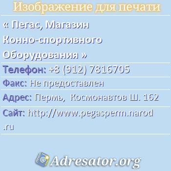 Пегас, Магазин Конно-спортивного Оборудования по адресу: Пермь,  Космонавтов Ш. 162