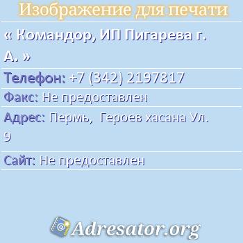 Командор, ИП Пигарева г. А. по адресу: Пермь,  Героев хасана Ул. 9