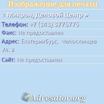 Микрон, Деловой Центр по адресу: Екатеринбург,  Челюскинцев Ул. 2