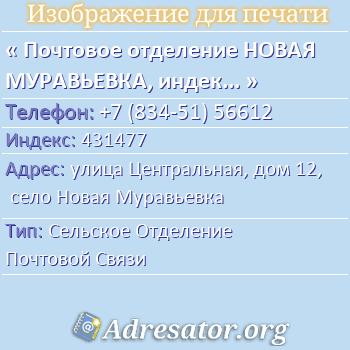 Почтовое отделение НОВАЯ МУРАВЬЕВКА, индекс 431477 по адресу: улицаЦентральная,дом12,село Новая Муравьевка