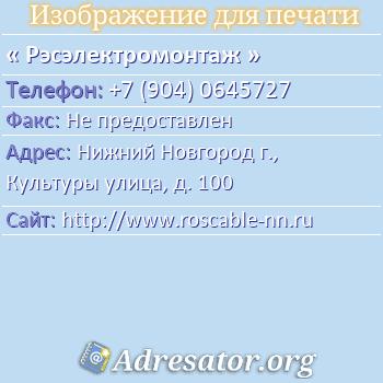 Рэсэлектромонтаж по адресу: Нижний Новгород г., Культуры улица, д. 100