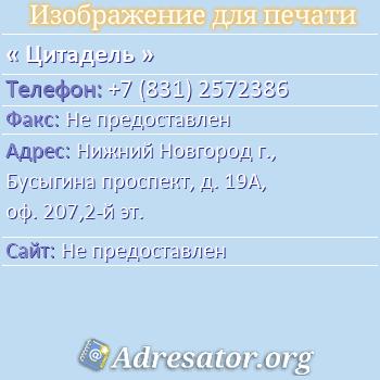 Цитадель по адресу: Нижний Новгород г., Бусыгина проспект, д. 19А, оф. 207,2-й эт.