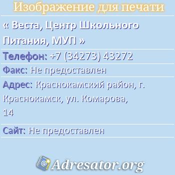 Веста, Центр Школьного Питания, МУП по адресу: Краснокамский район, г. Краснокамск, ул. Комарова, 14