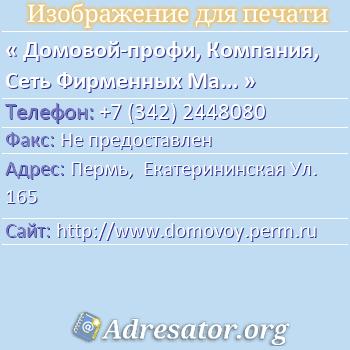 Домовой-профи, Компания, Сеть Фирменных Магазинов Домовой по адресу: Пермь,  Екатерининская Ул. 165