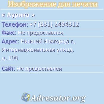 Аурика по адресу: Нижний Новгород г., Интернациональная улица, д. 100