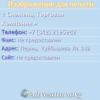 Снежень, Торговая Компания по адресу: Пермь,  Куйбышева Ул. 132