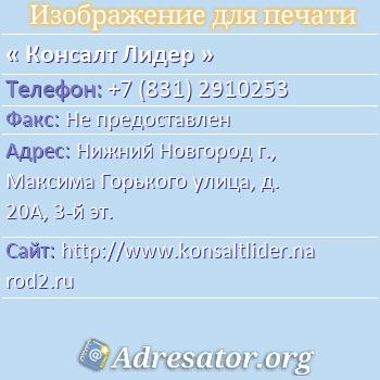Консалт Лидер по адресу: Нижний Новгород г., Максима Горького улица, д. 20А, 3-й эт.