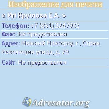 ИП Круглова Е.А. по адресу: Нижний Новгород г., Страж Революции улица, д. 29