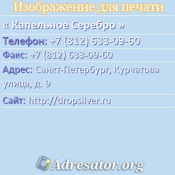 Капельное Серебро по адресу: Санкт-Петербург, Курчатова улица, д. 9