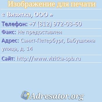 Визитка, ООО по адресу: Санкт-Петербург, Бабушкина улица, д. 14