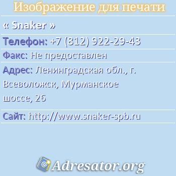 Snaker по адресу: Ленинградская обл., г. Всеволожск, Мурманское шоссе, 26