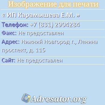 ИП Карамышева Е.М. по адресу: Нижний Новгород г., Ленина проспект, д. 115