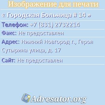 Городская Больница # 14 по адресу: Нижний Новгород г., Героя Сутырина улица, д. 17