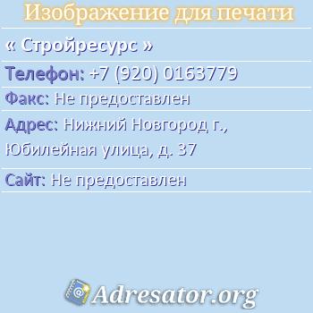 Стройресурс по адресу: Нижний Новгород г., Юбилейная улица, д. 37