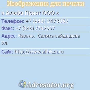 Альфа Принт ООО по адресу: Казань,  Салиха сайдашева Ул.