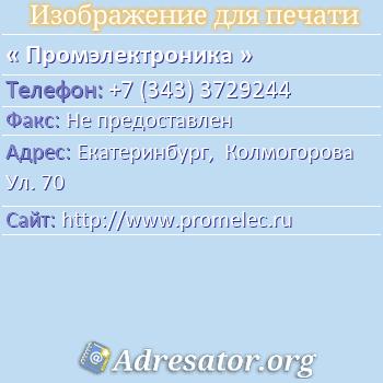 Промэлектроника по адресу: Екатеринбург,  Колмогорова Ул. 70