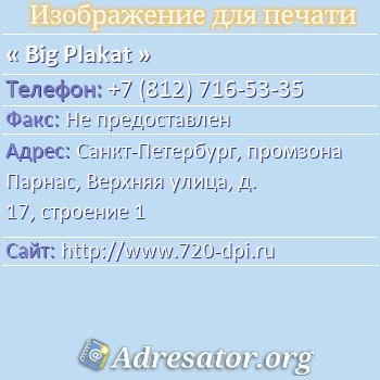 Big Plakat по адресу: Санкт-Петербург, промзона Парнас, Верхняя улица, д. 17, строение 1