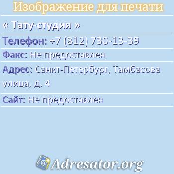 Тату-студия по адресу: Санкт-Петербург, Тамбасова улица, д. 4