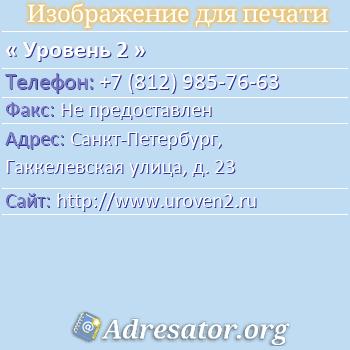 Уровень 2 по адресу: Санкт-Петербург, Гаккелевская улица, д. 23