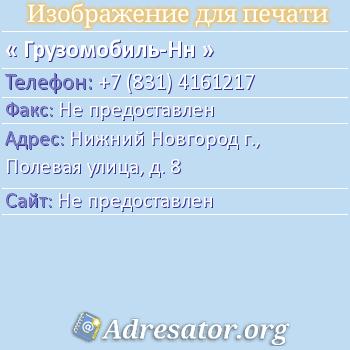 Грузомобиль-НН по адресу: Нижний Новгород г., Полевая улица, д. 8