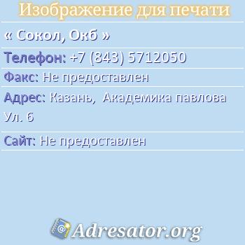 Сокол, Окб по адресу: Казань,  Академика павлова Ул. 6