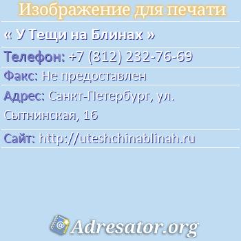 У Тещи на Блинах по адресу: Санкт-Петербург, ул. Сытнинская, 16