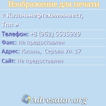 Казаньнефтехиминвест, Тпп по адресу: Казань,  Серова Ул. 17