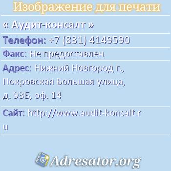 Аудит-консалт по адресу: Нижний Новгород г., Покровская Большая улица, д. 93Б, оф. 14
