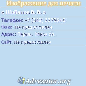 Шибанов В. В. по адресу: Пермь,  Мира Ул.