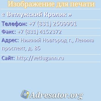 Ветлужский Кролик по адресу: Нижний Новгород г., Ленина проспект, д. 85
