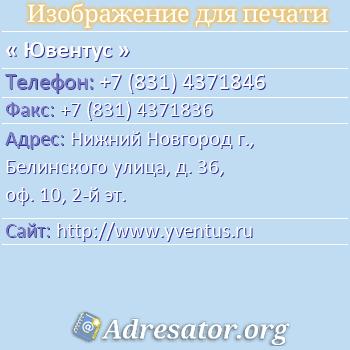 Ювентус по адресу: Нижний Новгород г., Белинского улица, д. 36, оф. 10, 2-й эт.