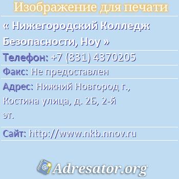 Нижегородский Колледж Безопасности, Ноу по адресу: Нижний Новгород г., Костина улица, д. 2Б, 2-й эт.