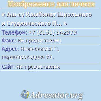 Аш-су Комбинат Школьного и Студенческого Питания по адресу: Нижнекамск г., первопроходцев Ул.