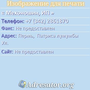 Мехоношин, ИП по адресу: Пермь,  Патриса лумумбы Ул.