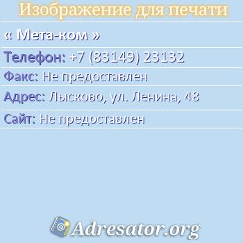 Мета-ком по адресу: Лысково, ул. Ленина, 48