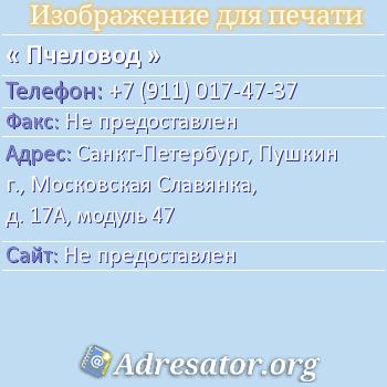 Пчеловод по адресу: Санкт-Петербург, Пушкин г., Московская Славянка, д. 17А, модуль 47