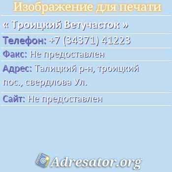 Троицкий Ветучасток по адресу: Талицкий р-н, троицкий пос., свердлова Ул.