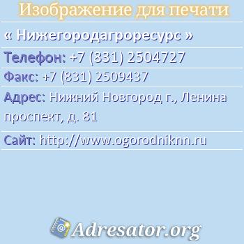 Нижегородагроресурс по адресу: Нижний Новгород г., Ленина проспект, д. 81