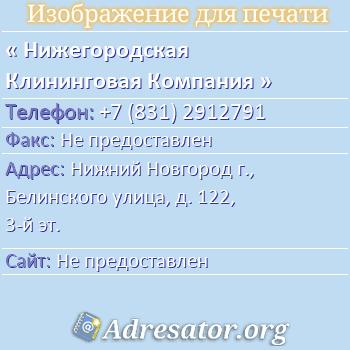 Нижегородская Клининговая Компания по адресу: Нижний Новгород г., Белинского улица, д. 122, 3-й эт.