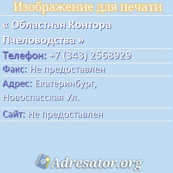 Областная Контора Пчеловодства по адресу: Екатеринбург,  Новоспасская Ул.