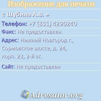 Шубина А.В. по адресу: Нижний Новгород г., Сормовское шоссе, д. 24, корп. 23, 2-й эт.