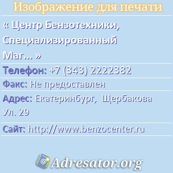 Центр Бензотехники, Специализированный Магазин по адресу: Екатеринбург,  Щербакова Ул. 29