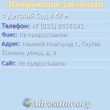 Детский Сад # 47 по адресу: Нижний Новгород г., Сергея Есенина улица, д. 9