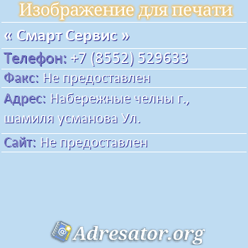 Смарт Сервис по адресу: Набережные челны г., шамиля усманова Ул.