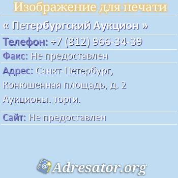 Петербургский Аукцион по адресу: Санкт-Петербург, Конюшенная площадь, д. 2 Аукционы. торги.